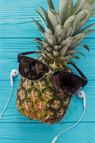 iPhone Wallpaper Pineapple, glasses, plane, headphones, phone, blue wood background