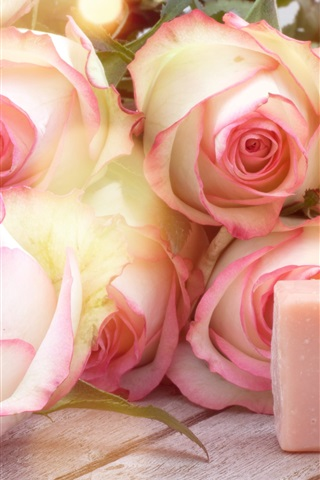 iPhone Wallpaper Pink roses, soap