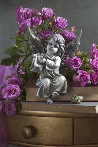 iPhone Wallpaper Purple roses, angel figurine, shells