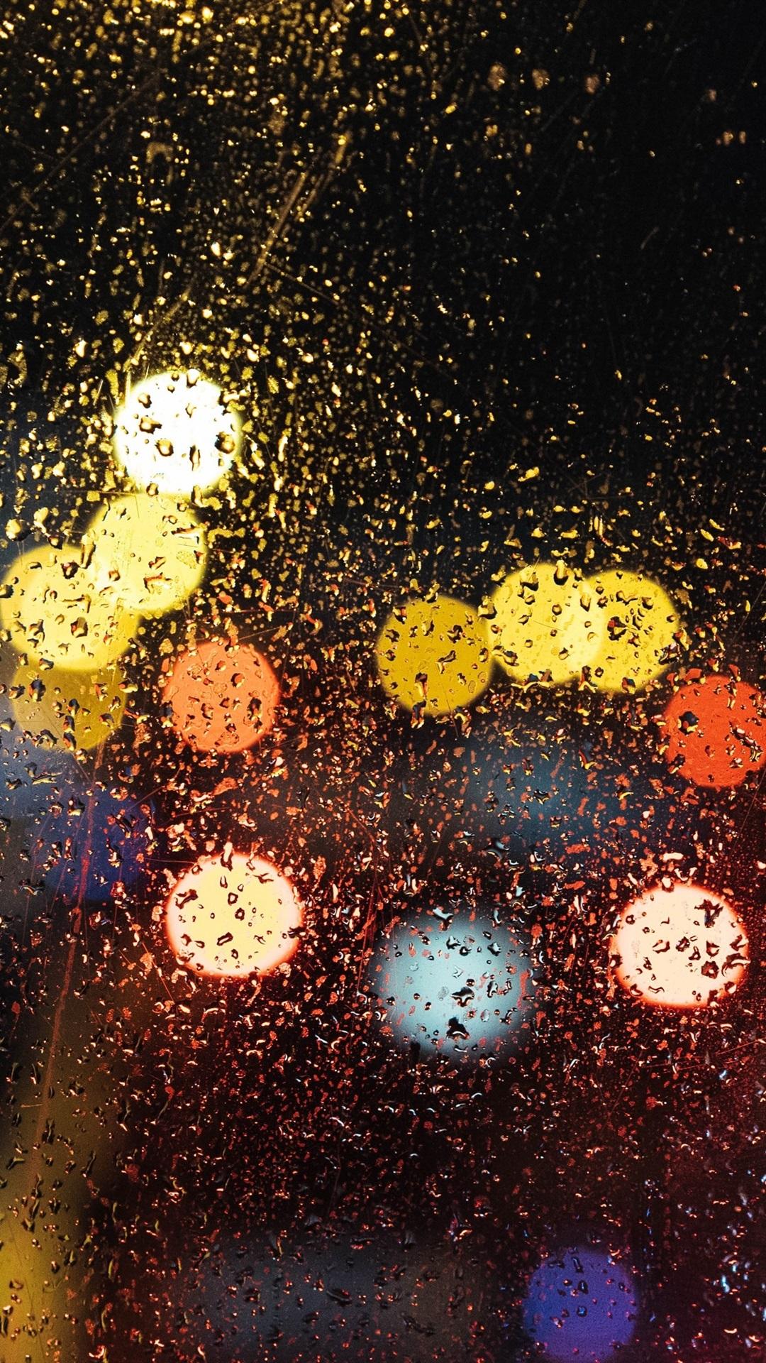 Rainy Day Night Glass Water Drops Light Circles