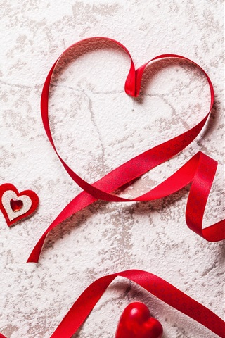 iPhone Wallpaper Red love hearts, ribbon