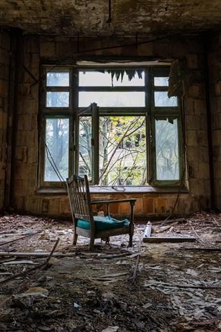 iPhone Wallpaper Room, windows, chair, dirt, ruins