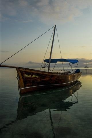 iPhone Wallpaper Sea, boat, calm water, clouds, dusk