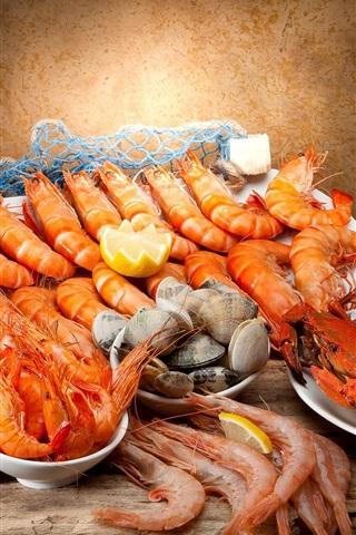 iPhone Wallpaper Seafood, shrimp, wine, crabs