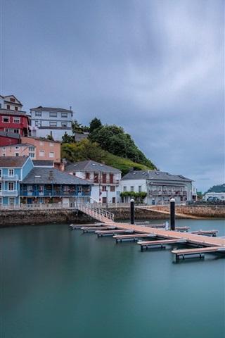 iPhone Wallpaper Spain, La Coruna, harbour, sea, houses