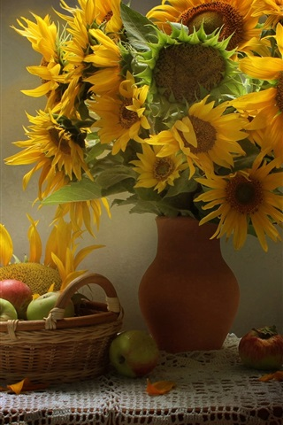 iPhone Wallpaper Sunflowers, apples, table