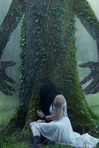 iPhone Wallpaper Tree, hands, girl, forest, creative