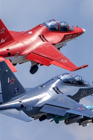 iPhone Wallpaper Two Yak-130 light attack fighters flight