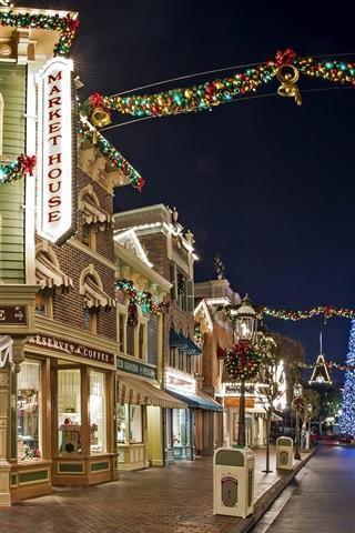 Usa Anaheim California Disneyland Street Houses Night 750x1334 Iphone 8 7 6 6s Wallpaper Background Picture Image