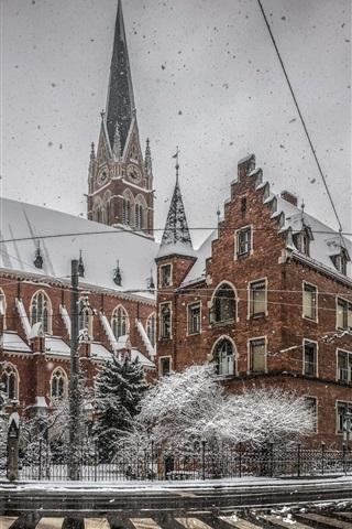 iPhone Wallpaper Winter, city, snow, roads, buildings