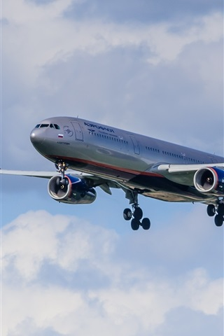 iPhone Wallpaper Airbus A330 airplane flight, sky