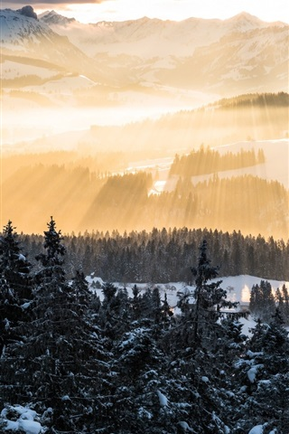 iPhone Wallpaper Alps, sun rays, mountains, morning, trees, snow, winter