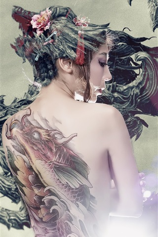 iPhone Wallpaper Asian girl back view, tattoo, dragon, art picture