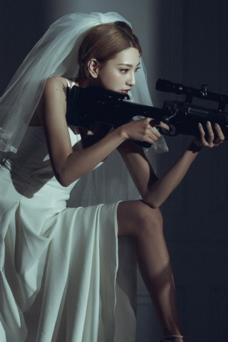 iPhone Wallpaper Asian girl, bride, sniper, rifle