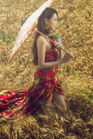iPhone Wallpaper Asian girl, wheat field, umbrella