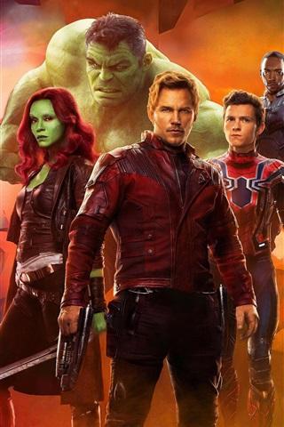 iPhone Wallpaper Avengers: Infinity War, 2018 movie, superheroes