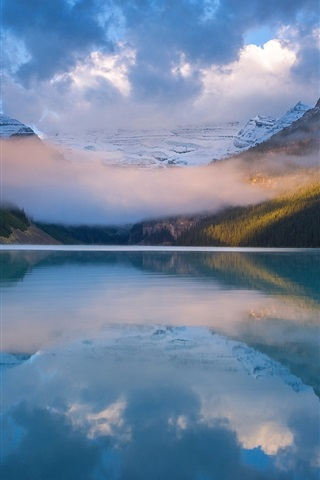 iPhone Wallpaper Banff National Park, lake, water reflection, mountains, clouds, Canada