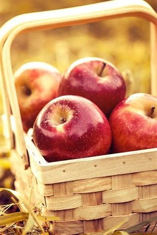 iPhone Wallpaper Basket, red apples, fruit