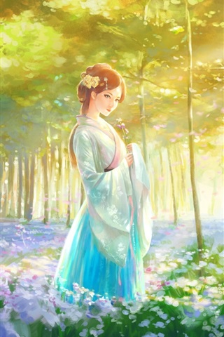 iPhone Wallpaper Beautiful Chinese girl, retro style, forest, flowers, art painting