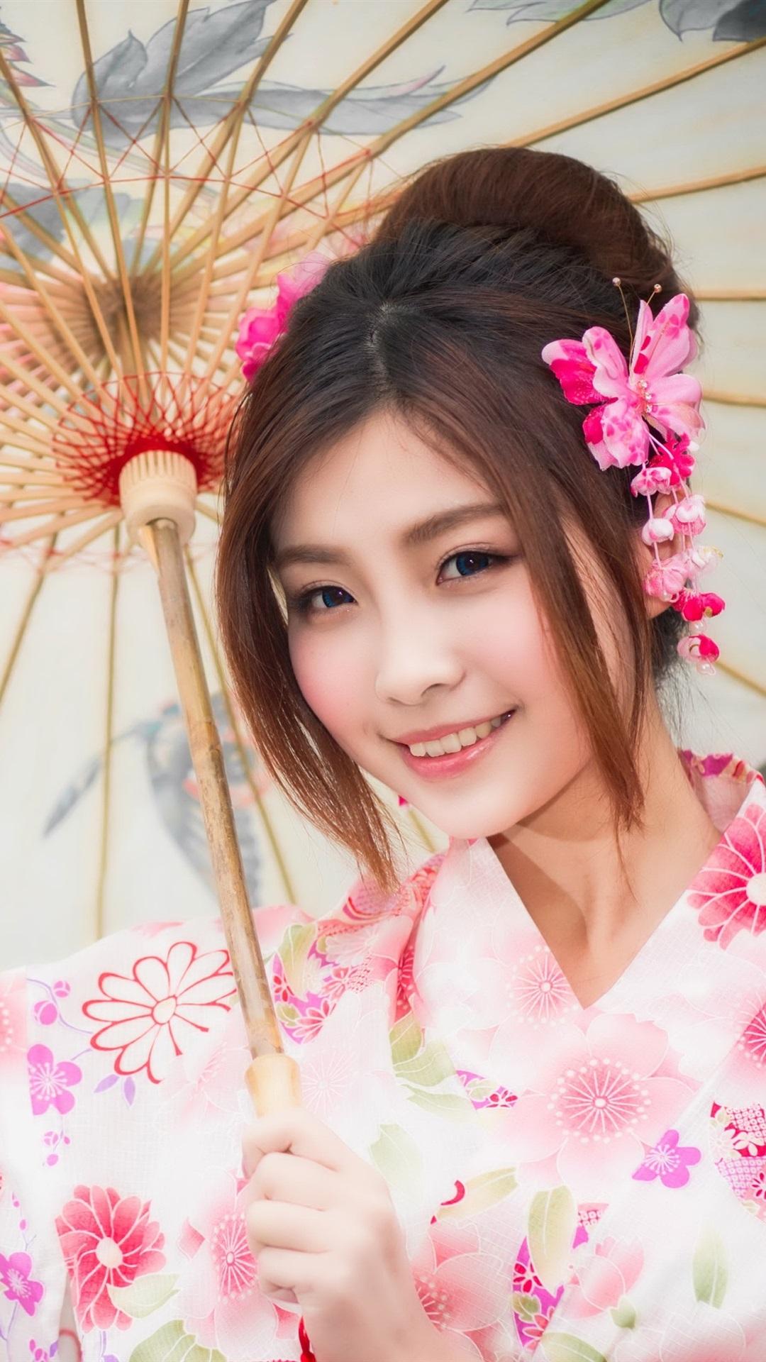 Wallpaper Beautiful Japanese girl, smile, kimono, umbrella