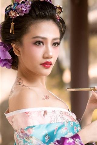 iPhone Wallpaper Beautiful Japanese girl, tattoo, kimono, geisha, smoke tube