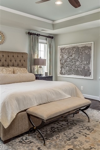 iPhone Wallpaper Bedroom, bed, pillow, chairs, window