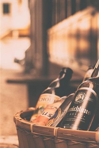 iPhone Wallpaper Beer bottles, basket, street, night