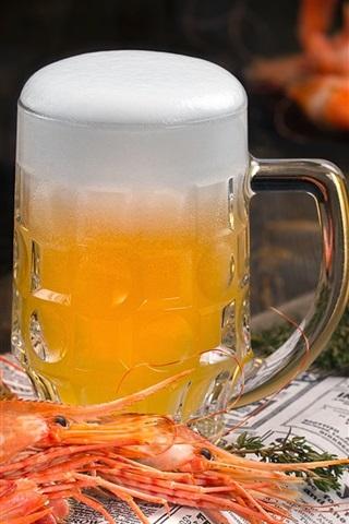 iPhone Wallpaper Beer, foam, shrimp