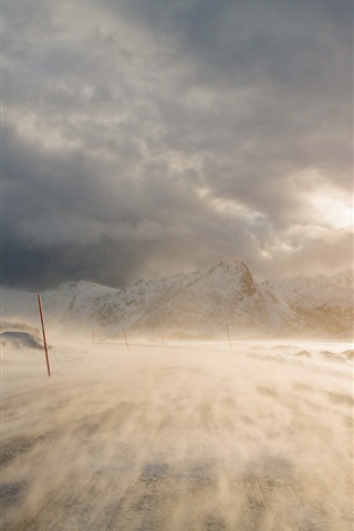 iPhone Wallpaper Blizzard, snow, mountains, road