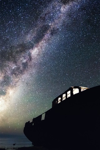 iPhone Wallpaper Boat, stars, starry, night