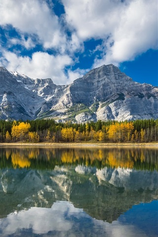 iPhone Wallpaper Canada, Wedge Pond, lake, forest, mountains, water reflection