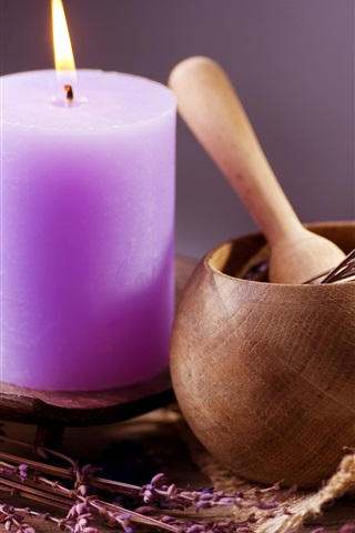 iPhone Wallpaper Candle, lavender, flame