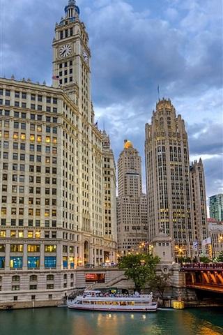 iPhone Wallpaper Chicago, Cityfront Center, skyscrapers, bridge, ships, USA