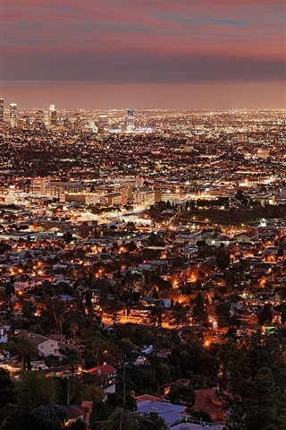 iPhone Wallpaper City night, lights, top view, Los Angeles, USA