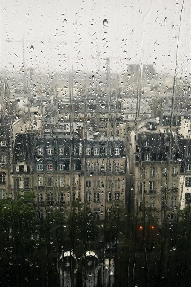 Stadt Fenster Glas Wassertropfen Regnerischer Tag