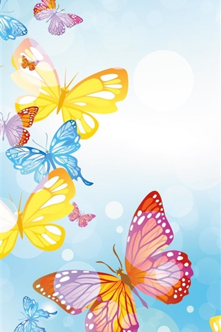 iPhone Wallpaper Colorful butterflies, circles, blue background