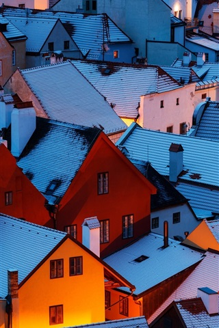 iPhone Wallpaper Czech Republic, night, roof, houses, snow, winter
