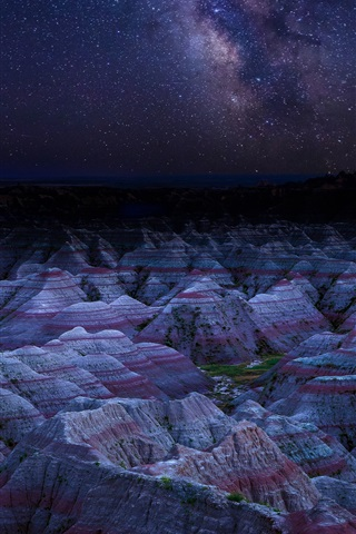 iPhone Wallpaper Danxia Landform, mountains, night, stars, China