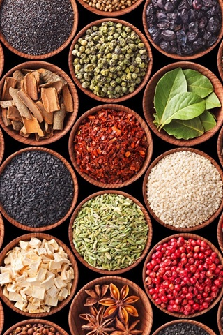 iPhone Wallpaper Diversity spices, turmeric, pepper, cardamom, star anise, mustard
