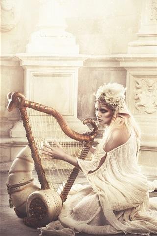 iPhone Wallpaper Elf girl play harp