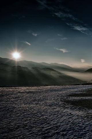 iPhone Wallpaper England, Cumbria, Castlerigg Stone Circle, mountains, sunset