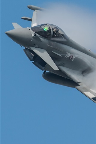 iPhone Wallpaper Eurofighter Typhoon multipurpose fighter, smoke