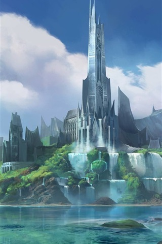 iPhone Wallpaper Fantasy City, castle, bridge, river, waterfall, art picture