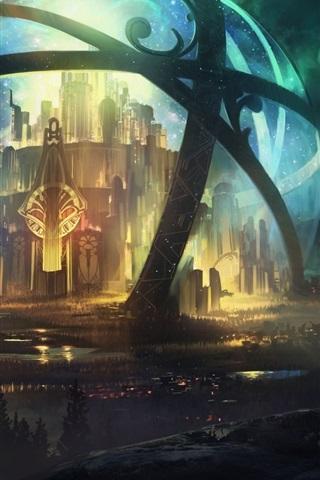 iPhone Wallpaper Fantasy world, sphere, castle, beautiful night