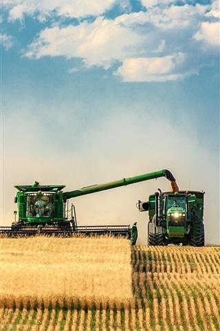 iPhone Wallpaper Farm field, tractor, harvesters