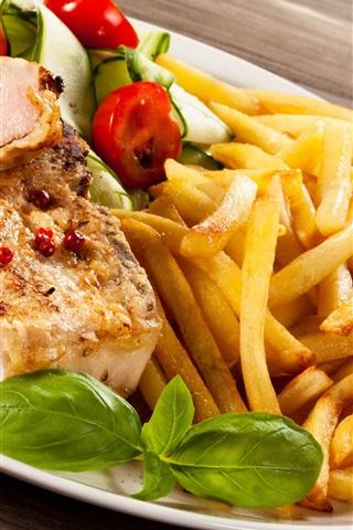 iPhone Wallpaper Food, meat, potatoes, tomato