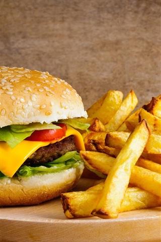 iPhone Wallpaper French fries, hamburger, cheese, food