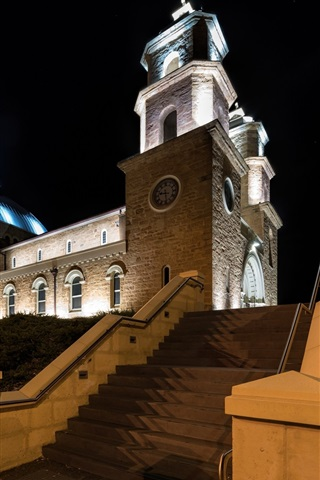 iPhone Wallpaper Geraldton, Australia, cathedral, night, lights
