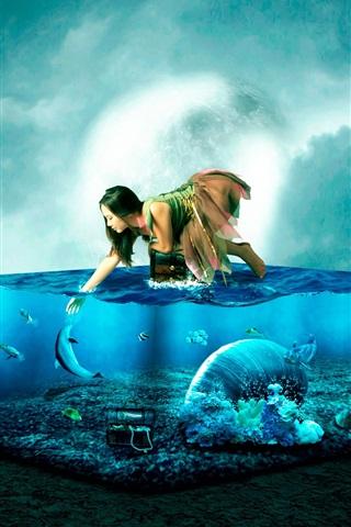 iPhone Wallpaper Girl and fish, aquarium, sea, creative design