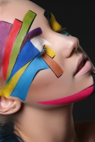 iPhone Wallpaper Girl, art photography, face, colors, black background